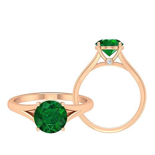 Solitärring, Gold Promise Ring, 2,03 CT Runde Edelsteine, D-VSSI Moissanit 8 MM Smaragd Diffused Ring, Kathedrale Ehering, Geteilter Schaftring, 18K Roségold, Size:EU 70