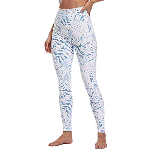 AOGOTO - Calzoncillos elásticos para mujer con pantalones de yoga, Mujer, AOGOTO Pants, K-Azul claro, extra-small