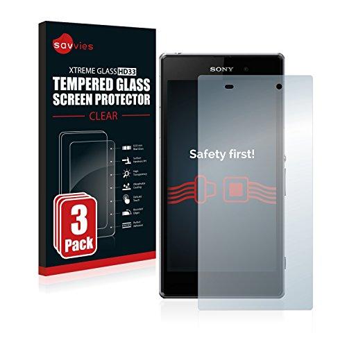 Savvies Panzerglas kompatibel mit Sony Xperia Z1 C6903 (3 Stück) - Echt-Glas, 9H Festigkeit, Anti-Fingerprint