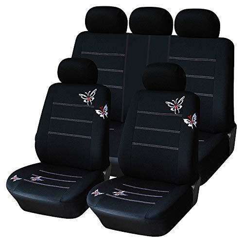 QXCOM Fundas de asiento de coche de fibra de lino para Citroen C2 C3 Aircross C3 Picasso C4 DS 7 DS3 DS4 DS5 E-BERLINGO E-BLINGO (Negro)