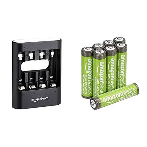 AmazonBasics - Caricabatterie USB rapido, nero & Batterie AAA ricaricabili, ad alta capacità, pre-caricate, confezione da 8 (l'aspetto potrebbe variare dall'immagine)