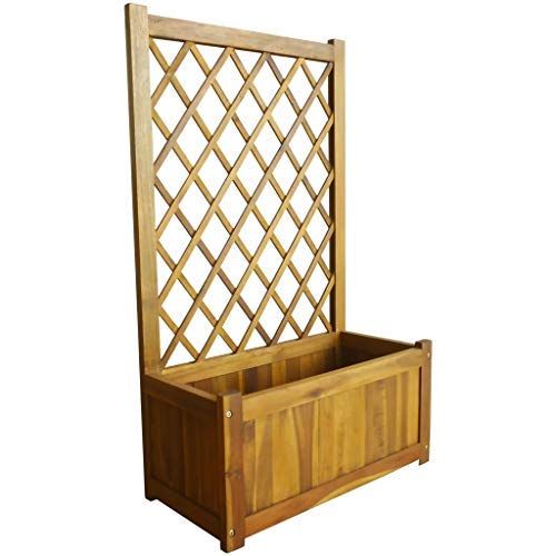 CFG Solid Acacia Wood Garden Planter with Trellis Flower Raised Bed Pot