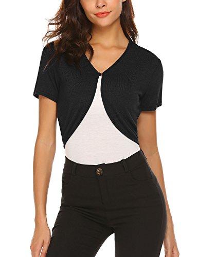 Hotouch Women's Short Sleeve Shrugs for Dresses Black Cropped Bolero Cardigan Black S