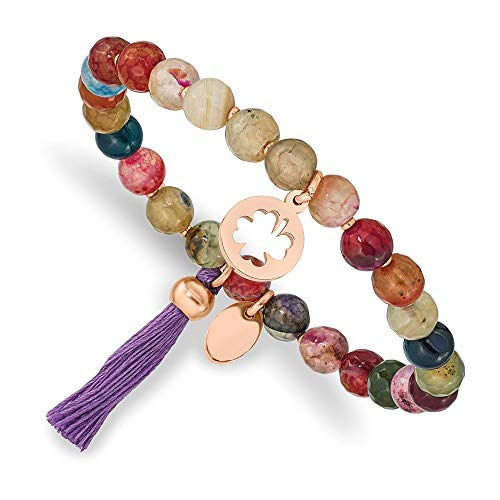 Ryan Jonathan Fine Jewelry Stainless Steel Rose Ion Plated Clover Multi Color Agate Stretch Bracelet