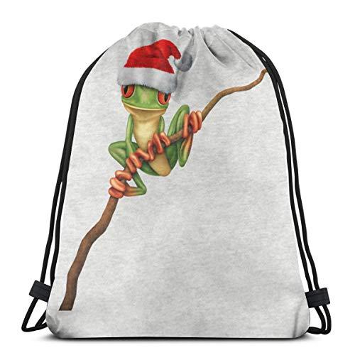 PPCCLPPO Men's Ladies Baby Tree Frog Wearing A Santa Hat Sport Ricreativi E Ricreativi Zaino Leggero Stampato Shopping | Gita | Fitness, Luce E Bellezza