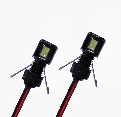 Oznium Side View LED Bolt - 12V LED Side Emitting Light for Bumper, Grille, Cars Interior, Dash, Ambient Lighting, Motorcycle with Aluminum Housing & Screw Nut (8 mm Black, Green LED), 2-Pack