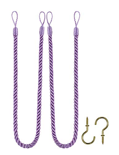Home Queen Rope Tie Backs for Window Curtain with 2 Hooks, Hand Knitting Buckle Cord Drapery Holdbacks, Set of 2, Lilac