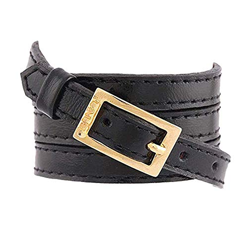 LALÉ Woman wrap Genuine leather Bracelet   Twists Four Times Around The Wrist   Ironwork Plated in Gold Buckle for Closure   Adjustable Size   Handmade Jewelry (Black, 6.5)