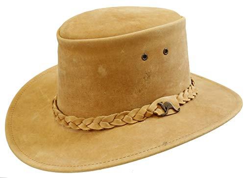Kakadu Traders Australia Kinderhoed Cowboy hoed | gevlochten hoedband met gebogen rand | kinbandogen