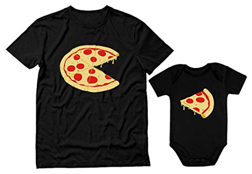 Pizza Pie & Slice Dad & Baby Set Baby Bodysuit & Men's T-Shirt Shower Gift Dad Black XXX-Large / Baby Black Newborn (0-3M)