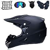 Juego de casco de motocross, protección de seguridad para motocicleta, casco de cross para bicicleta de montaña, con gafas, guantes, máscara, red, protección infantil (G,L)