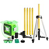 Huepar Green Beam Laser Level with Bluetooth, Three-Plane Self-Leveling and Alignment Cross Line Laser Level-One Horizontal and Two Vertical Lines with Bluetooth Connectivity Laser Tool Set 603LP