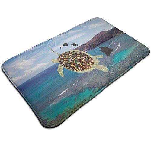 LXJ-CQ Extra weiche und saugfähige Teppiche, Badteppichmatte (31,5 x 19,5 Zoll) Hanauma Bay Hawaii Turtle Fußmatten Fußmatten