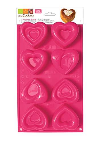 SCRAP COOKING 3102 Moule - Multi 8 Cœurs, Silicone, Rose, 33 x 18 x 3,5 cm
