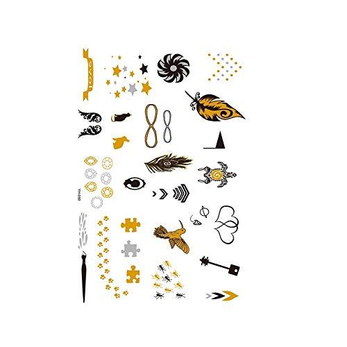 Autocollants de tatouage bronzage rétro autocollants de tatouage imperméables ensemble autocollants d'impression de couleur argent chaud-YH-060_148 * 210MM