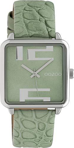 Oozoo Damenuhr Quadratisch mit Lederband 28 x 28 MM Grün/Grün C10367