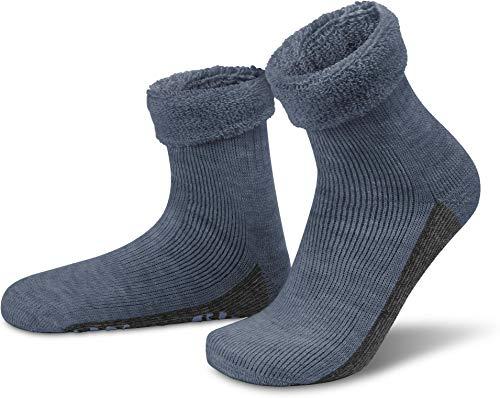 normani ALPAKA Wollsocken mit Alpaka- & Schafwolle sowie rutschfestem ABS-Aufdruck Farbe Jeans Größe 43-46