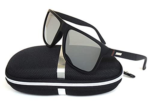 Gafas de sol polarizadas con diseño de Galaxy 80 para hombres y mujeres, ciclismo, correr, conducir, pesca, carreras, selección de varios colores (marco negro, lentes polarizadas plateadas)