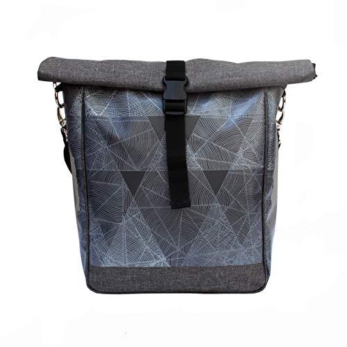 IKURI Fahrradtasche für Gepäckträger Satteltasche Einzeltasche Packtasche, abnehmbar, mit Tragegurt zum Umhängen, aus Plane, für Damen, Wasserdicht, Modell Diamante