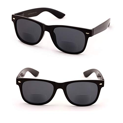 Classic Bifocal Outdoor Reading Sunglasses - Comfortable Stylish Simple Readers Magnification (2 Black Lens, 2.50)