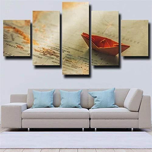 ZHRMGHG Cuadro En Lienzo, Imagen Impresión, Pintura Decoración, Cuadro Moderno En Lienzo 5 Piezas XXL Barco Mapa Origami Naranja Papel Barco Enmarcado Murales Pared Hogar Decor