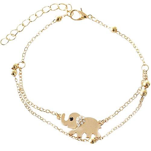 Lumanuby 1x Bebé Elefante Cadena de Oro Pulsera de Tobillo del pie Descalzo de la Sandalia de La Playa Ajustable