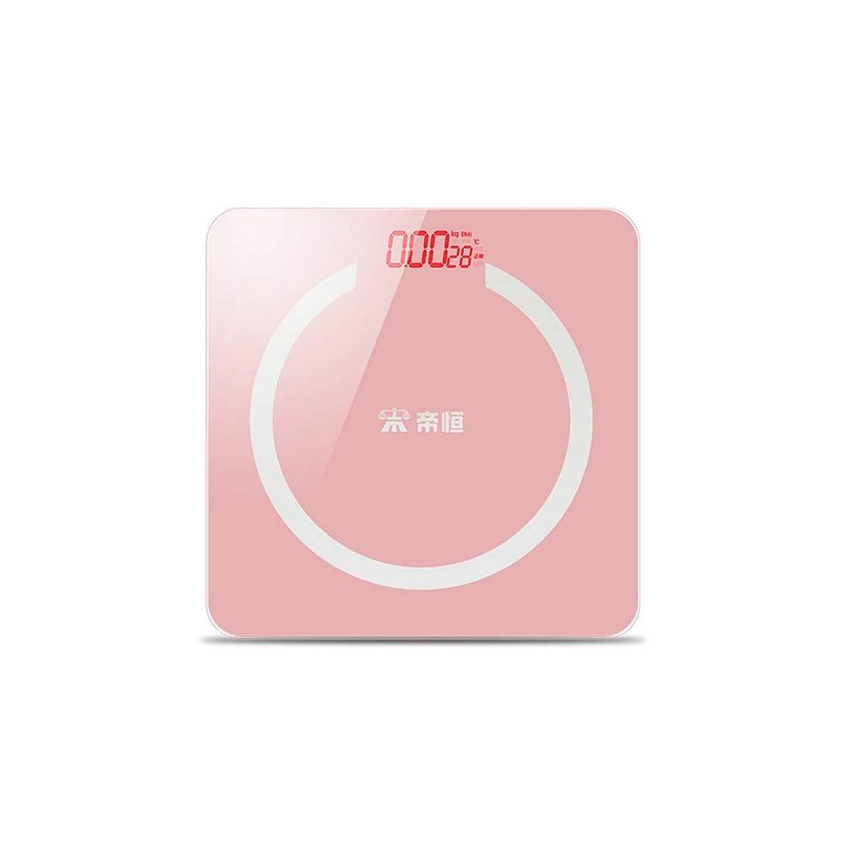 運営地下九デジタル体重計、高品質6 mm強化ガラス、超ワイドプラットフォーム、読みやすいバックライト付き、400ポンド、充電スタイル (Color : Pink)