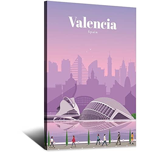 ASFGH Póster vintage de viaje Valencia España Decoración Pintura Cartel Moderno Oficina Familiar Lienzo Arte Imagen Dormitorio Decorativo Regalo Carteles