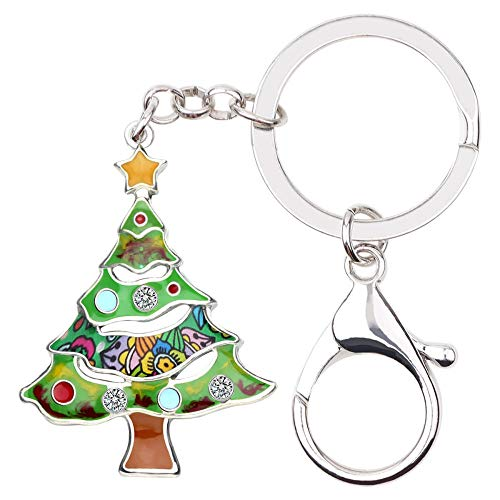 LZHLMCL Bag Keyrings Keychains Enamel Alloy Christmas Tree Key Chain Keychain Keyring Rhinestone Party Jewelry Women Girls Kid Car Bag Gifts