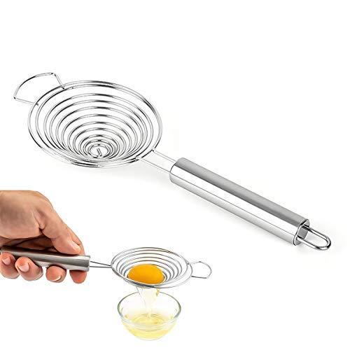 Separador de huevos, filtro de yema con cuenco, gancho de acero inoxidable, filtro de huevo y yema con asa, para utensilios de cocina