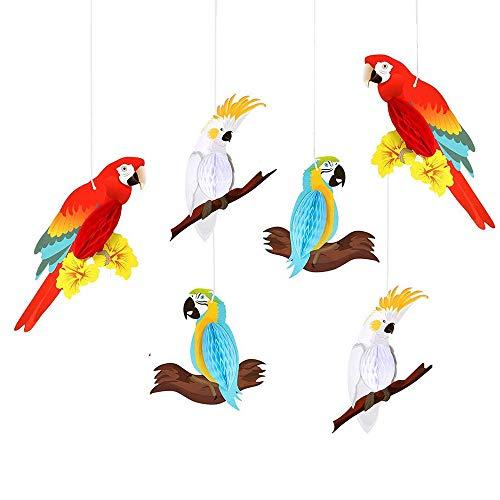 EOPER - 6 piezas de papel para colgar, diseño de pájaros tropicales para bodas, cumpleaños, playa, piscina