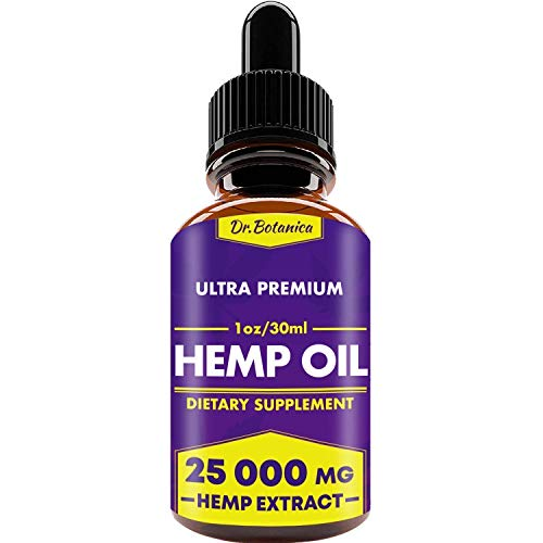 25 000 MG - Hemp Oil Drops - 100% Pure Natural Ingredients - Co2 Extracted - Anti-inflammatory - Help Reduce Stress, Anxiety and Pain - Vegan...