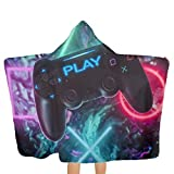 ANGERT& Hooded Beach Towel for Kids Colorful Video Game Controller Play Games Oversize Extra Size Soft Pool Swim Bath Towels Wrap with Hood for Boys Girls