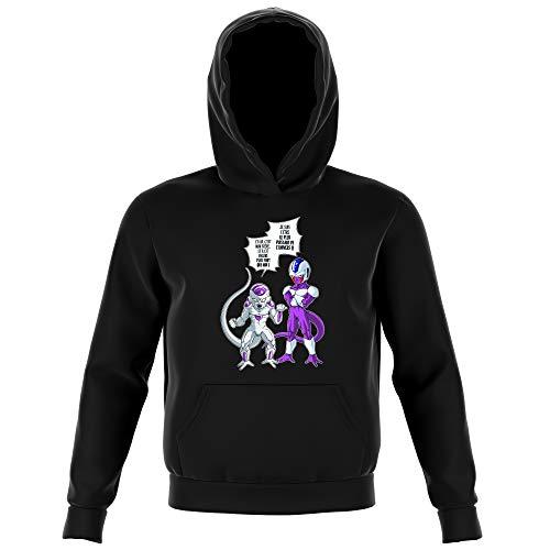 Okiwoki Sweat-Shirt à Capuche Enfant Noir Parodie Dragon Ball Z - DBZ - Freezer et Cooler - La vérité n'est jamais Simple. (Sweatshirt de qualité Premium de Taille 11-12 Ans - imprimé en France)