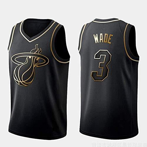 Oxyco Hombres Jersey Camiseta Miami # 3 Dwyane Wade Swingman Camiseta de Baloncesto (Negro & Oro, M(48))