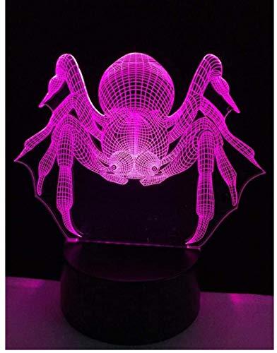 Spider 3D Illusion Nachtlicht USB RGB Farben Ändern Touch Table Schreibtisch Schlafzimmer LED-Lampe für Mädchen Liebhaber Geschenk & Dekoration,Mit Fernbedienungsschalter