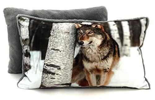 heimtexland ® Kissenhülle Wolf 30x50 cm mit Teddy-Plüsch - hochauflösender Digital-Fotodruck auf samtig weichem Velour Kissen Hüttenstil Waldtiere Dekokissen Typ587
