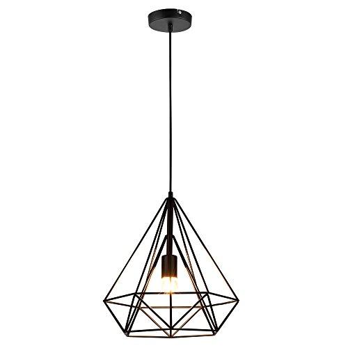[lux.pro] Plafonnier Lampe de Plafond Éclairage de Plafond LED Suspension Design Vintage Métal Noir Hauteur : env. 200 cm Douille : 1 x E27