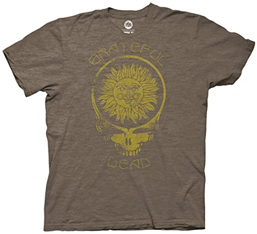 Ripple Junction Grateful Dead Adult Unisex Steal Your Face Sun with Curved Type Light Weight Crew T-Shirt SM Heather Brown