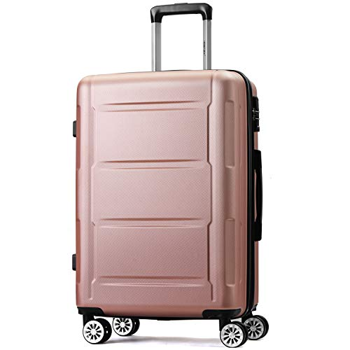 Pumpumly Handgep?ck - Juego de maletas rígidas expandibles con candado TSA, mango telescópico y 4 ruedas, color champán, L de 63 cm