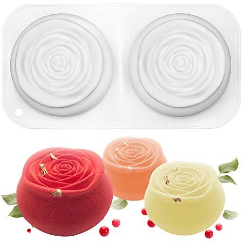 musykrafties 2 cavités Roses Cupcake Mousse Cake Moule en Silicone en Forme de Plateau Taille 10,2 x 10,2 x 5,1 cm