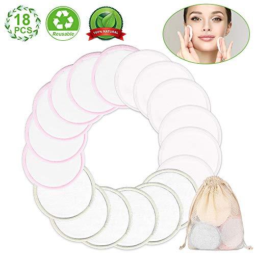 Vivibel Abschminkpads Waschbar- Bambus Aktivkohle Wiederverwendbare Wattepads, 18 Makeup Entferner Pads Superweich Umweltfreundlich, Zero Waste für Gesicht Auge