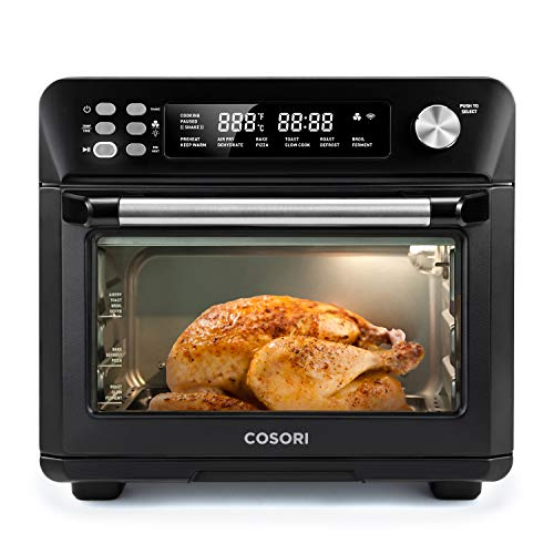 COSORI 12-in-1 Air Fryer Toaster Combo, Countertop Dehydrator for Chicken, Pizza and Cookies, Christmas Gift, Recipes & Accessories Included, Work with Alexa, 25L, Smart Oven-Black