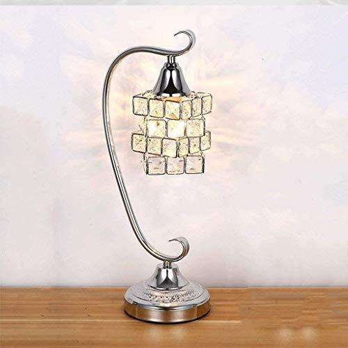 NXYJD Estudio Simple Moderna lámpara de cabecera del Dormitorio, Cubo lámpara de Mesa de Cristal, Tridimensional Diseño Mágico