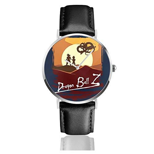 Unisex Business Casual Dragonball Z Apokalypse Now Mix Uhren Quarz Leder Armbanduhr mit schwarzem Lederband für Männer Frauen Young Collection Geschenk