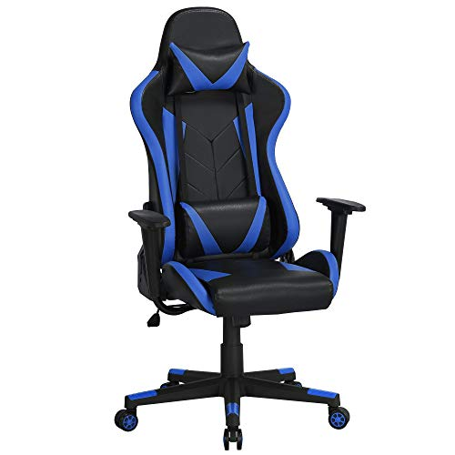 Yaheetech Gaming Stuhl Bürostuhl Kunstleder Drehstuhl Racingstuhl Computerstuhl Hoch Rücken Ergonomisches Design mit Kopfstütze und Lendenkissen Blau
