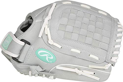 Rawlings Sure Catch Series Fastpitch Softball Glove, Teal/Grey/White, Right Hand Throw, 11.5 inch (SCSB115M-6/0)