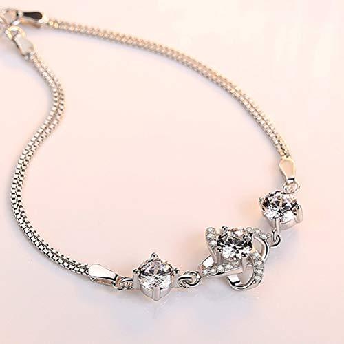 Klavertje Vier Sterling Zilveren Armband Met Gift Van De Dag Zircon S925 Zilveren Sieraden Simple Mode Valentine's Voor Vriendin,A1