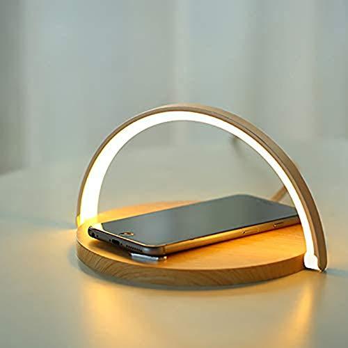 GDFGTH Lámpara de mesita de noche con cargador inalámbrico, 10 W, luz nocturna con intensidad táctil, soporte para teléfono y 3 niveles de brillo para dormitorio, estudio, oficina