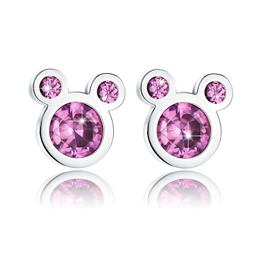 BAMOER Mouse Earrings 925 Sterling Silver Pink Cubic Zirconia Tiny Stud Earrings for Women Girls Christmas Gift